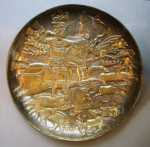 Hunting scene on a gilded silver bowl showing king Khosrau I. ChosroesHuntingScene.JPG