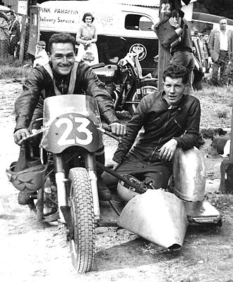 Sidecar World Championship - Chis Vincent on the Norton-BSA outfit he used for 1958 in grasstrack and 1959 for road racing, just by changing the tyre tread, a low sitter achieved by 16 inch wheels instead of 19 and showing an early version of the passenger platform which endured until the late 1970s