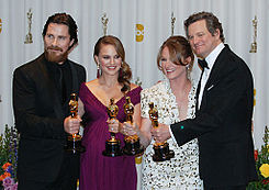 Christian Bale, Natalie Portman, Melissa Leo and Colin Firth 2011.jpg