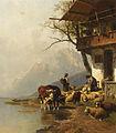 Christian Friedrich Mali - Ruhende Schafsherde vor dem Haus am Bergssee (1885).jpg