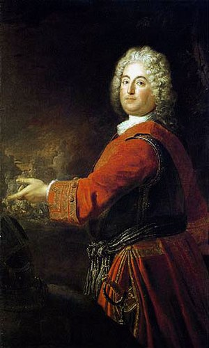 Margrave Christian Ludwig of Brandenburg-Schwedt - Christian Ludwig wearing the red tunic of his Infantry Regiment, painting by Antoine Pesne (about 1710)