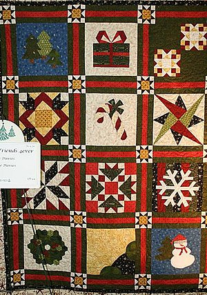 Mormon folklore - Image: Christmas sampler patch quilt