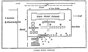 London to Ladysmith via Pretoria - Churchill's diagram of the State Model School where he was held prisoner