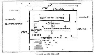 London to Ladysmith via Pretoria - Churchill's diagram of the State Model School where he was held prisoner