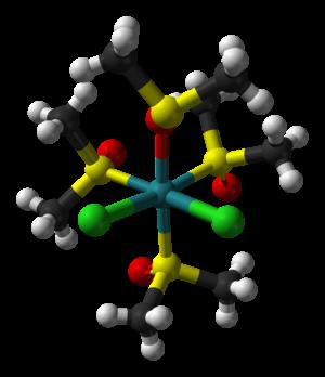 Dichlorotetrakis(dimethylsulfoxide)ruthenium(II) - Image: Cis fac dichlorotetrakis(dim ethyl sulfoxide)ruthenium( II) from xtal 2008 3D balls