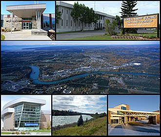 Soldotna, Alaska - From top left: Joyce K. Carver Memorial Library, Kenai Peninsula Borough Building, aerial view of the City of Soldotna, Central Peninsula Hospital, Soldotna Creek Park, and the Kenai Peninsula College.