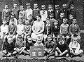 Class photo, tableau, teacher, yard, summer Fortepan 10254.jpg