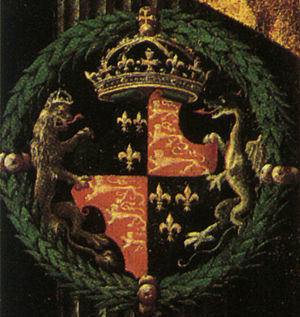 Supporter - Early example of the Royal Arms of England with lion and dragon as supporters, from a painting of Edward VI dated c. 1547