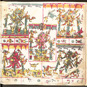Tlaloc - Five Tlaloquê depicted in the Codex Borgia.