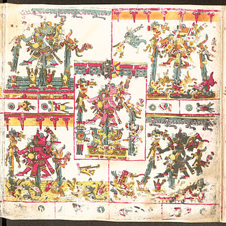 Tlāloc - Five Tlaloquê depicted in the Codex Borgia.