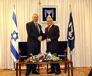 Moshe Katsav - Moshe Katsav with Colin Powell, 2003