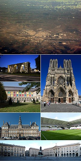 Clockwise from top: southwest aerial view, Reims Cathedral, Stade Auguste-Delaune, Place Royale, Hôtel de Ville, Museum of Fine Arts, Porte de Mars