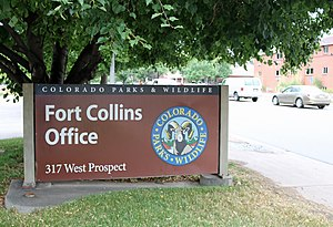 Colorado Parks and Wildlife - The sign in front of the Fort Collins office.