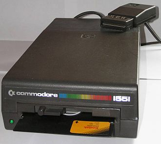 Commodore 1551 - View of a European Commodore 1551 disk drive, showing the unusual connector