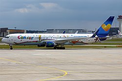 Condor (Heart for Children Livery), D-ABUE, Boeing 767-330 ER (15836952393).jpg