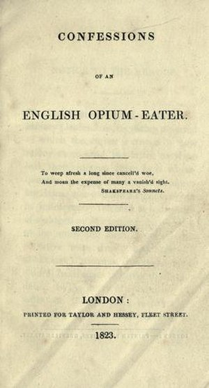 Confessions of an English Opium-Eater - Front cover of the second edition of the Confessions of an English Opium-Eater (London, 1823)