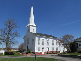Barrington, Rhode Island - Shifts in influence between northern and southern portions of Barrington resulted in relocation of the Congregational Church (pictured).