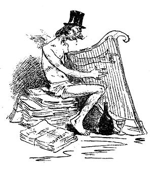 """Symbolist movement in Romania - """"The Symbolist poet"""", as portrayed by cartoonist Constantin Jiquidi. At the bottom, a stack of papers with the title Literatorul"""