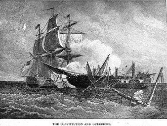 HMS Guerriere (1806) - Constitution and the defeated Guerriere.