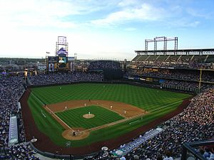 Sports in Colorado - The Colorado Rockies National League baseball club at Coors Field in Denver.