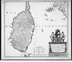 1737 map of Corsica commissioned by King Theodore
