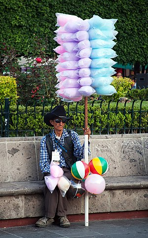Cotton candy seller in Leon, Guanajuato, Mexico