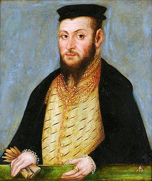 Sigismund II Augustus took decisive steps to ensure preservation of the union after his death Cranach the Younger Sigismund II Augustus.jpg