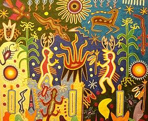 Cuadro de estambre del pueblo wixárika (huichol) II.jpg