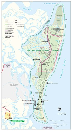 Carte de la réserve marine nationale du Cumberland Island National Seashore