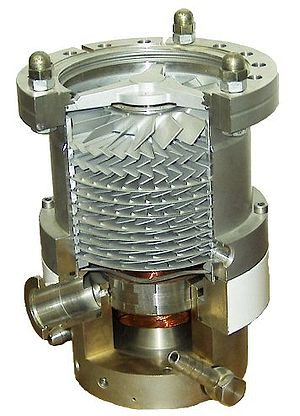 Vacuum pump - A cutaway view of a turbomolecular high vacuum pump