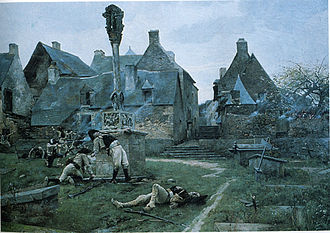 Rochefort-en-Terre - The defence of Rochefort-en-Terre during the Chouannerie (Royalist uprising against the French Revolution) - painting by Alexandre Bloch, 1885.