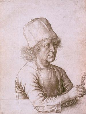 Portrait of Dürer's Father at 70 - Dürer's Father's Self-portrait, 1486. Silverpoint drawing attributed to Albrecht the elder. Albertina Museum, Vienna.