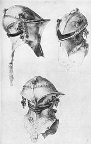 Jousting helmet (Stechhelm), late fifteenth century.  Illustration by Albrecht Dürer.