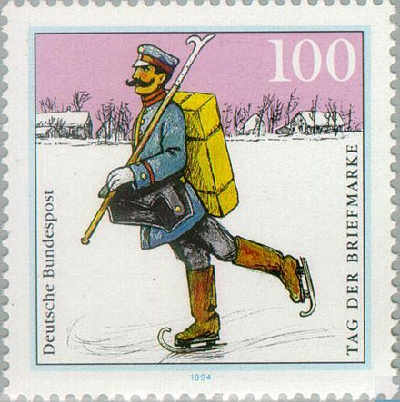 A postman in Germany during the winter of 1900 (stamp from 1994) DBP 1994 Tag der Briefmarke.jpg