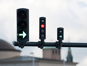 English: Danish traffic-light with segregated ...