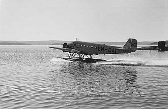 Fred. Olsen Airtransport - A Junkers Ju-52 taking off at Oslo Airport, Fornebu in 1939