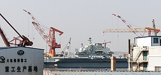 Ex-Varyag undergoing refit in Dalian Shipbuilding Industry Company (2011), which later became China's first aircraft carrier Liaoning Dalian Liaoning China CNS Liaoning (CV-16)-02.jpg