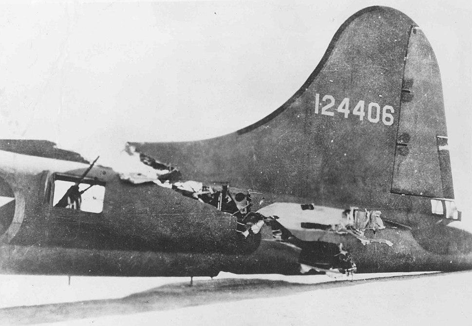 Damaged tail of B-17