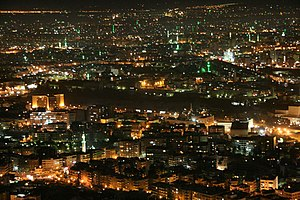 old city damascus at night