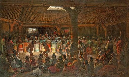 Dance at a Subterranean Roundhouse at clear Lake, California, Jules Tavernier