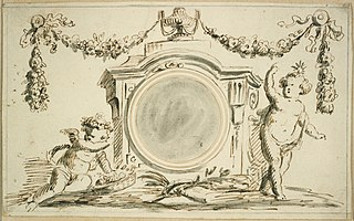 Design for a clock with cherubs