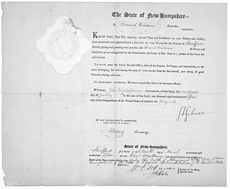 Strafford County, New Hampshire - Order naming Daniel Waldron justice of the peace, Strafford County, 1815
