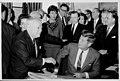 David Dubinsky, President John F. Kennedy, Alex Rose, and others at a large gathering, April 1963 (5279397960).jpg