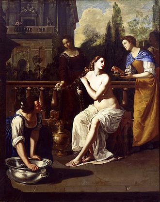 Books of Samuel - David and Bathsheba, by Artemisia Gentileschi. David is seen in the background, standing on a balcony.
