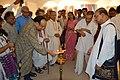 Debabrata Chakrabarti Lighting Inaugural Lamp - Biswatosh Sengupta Solo Exhibition - Kolkata 2015-07-28 3326.JPG