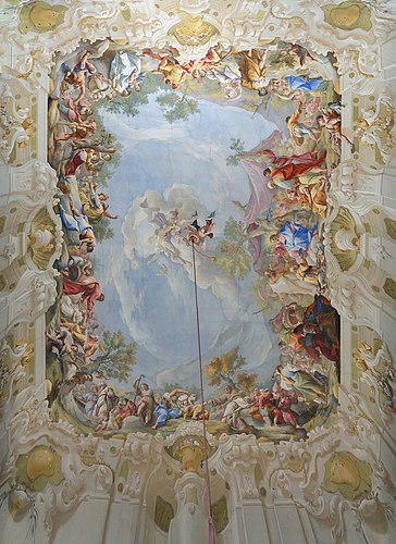 The ceiling fresco in the Marble Hall of the Premonstratensian Chorherrenstift Geras in Lower Austria