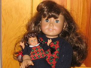 Molly, the American Girl Doll is shown here wi...
