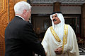Defense.gov News Photo 110312-D-XH843-003 - Secretary of Defense Robert M. Gates meets with the King of Bahrain Hamad bin ISA al-Khalifa at Safriyah Palace in Bahrain on March 12, 2003.jpg