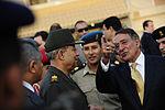Defense.gov News Photo 111004-F-RG147-801 - Secretary of Defense Leon Panetta talks with Egyptian Maj. Gen. Rouini as he prepares to leave Cairo Egypt on Oct. 4 2011. Panetta is traveling in.jpg