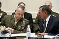 Defense.gov News Photo 120201-D-TT977-061 - Secretary of Defense Leon E. Panetta speaks with Commander of the International Security Assistance Force Gen. John Allen U.S. Marine Corps at.jpg